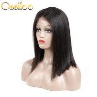 Ossilee короткий боб парики 100% человеческих волос парики Синтетические волосы на кружеве парик перуанский волос парики для черный Для женщин
