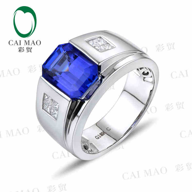 купить CaiMao 18KT/750 White Gold 3.46 ct Natural IF Blue Tanzanite AAA 0.32 ct Full Cut Diamond Engagement Gemstone Ring Jewelry по цене 138752.98 рублей