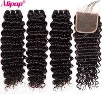 Deep Wave 3 Bundles With Closure Human Hair Bundles Brazilian Hair Weave Bundles With Closure ALIPOP