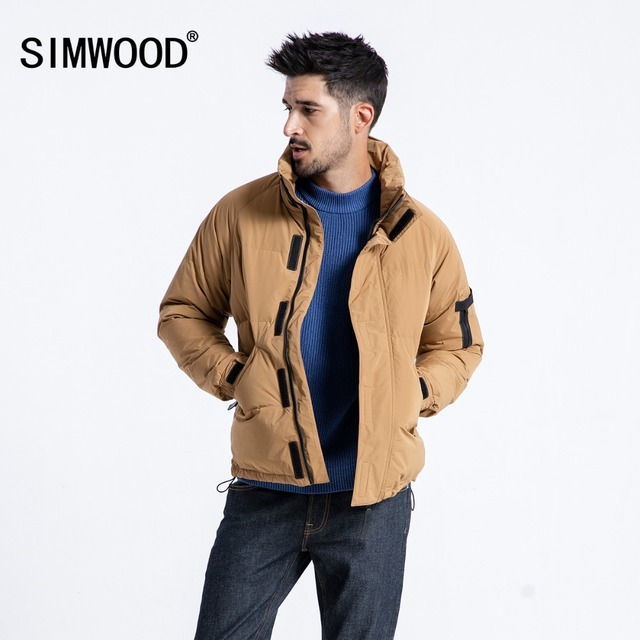SIMWOOD 2018 Winter Warm Down Jacket  Men 90% Grey Down Coats Man 2018 Fashion Casual Stand collar Outwear  Plus Size 180292