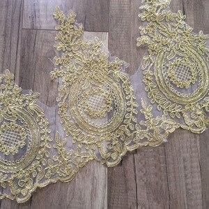 Image 2 - רקום טול רשת תחרה לקצץ זהב מתכתי חוט מלא שמלת תחרה זמירה זהב תחרה גבול פתול תחרה לקצץ 3 מטרים /הרבה