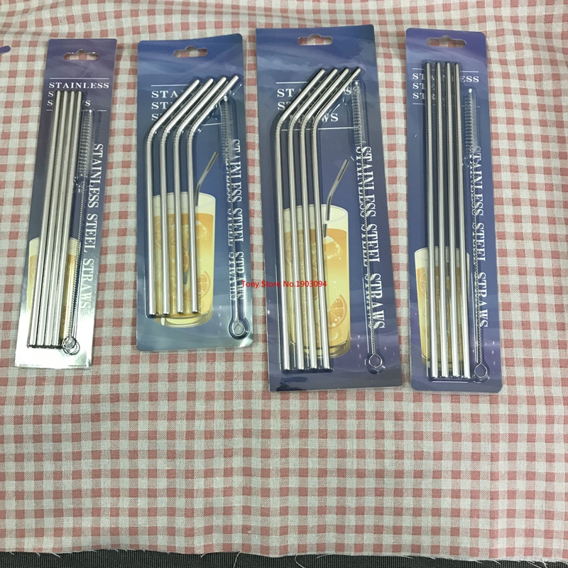 4 Unids/set Reutilizable Recto Bent Acero Inoxidable Pajas De Beber Con 1 Unid Cepillo Limpiador De Limpieza De Café Leche Drinkware Grandes Variedades