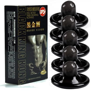 10pcs Black Durable Condoms Ultra Thin Penis Sleeve Long lasting Natural Latex Lubricated Men Contraception
