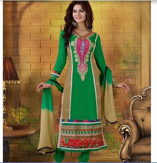 5354f3fd378 Elegant Women Indian Traditional Salwar Kameez Sets Green Georgette Heavy  Embroidery Salwar Suit Cotton Churidar Chiffon Dupatta