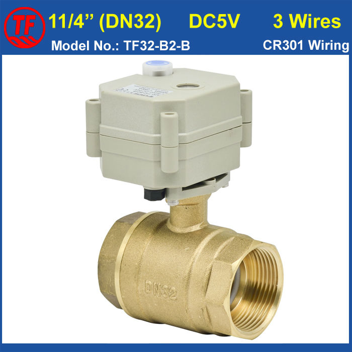 ФОТО DC5V 3 Wires 1-1/4'' (DN32) Brass Electric Operated Valve With Manual Override For Water Control Systems 29mm Bore On/Off 5 Sec