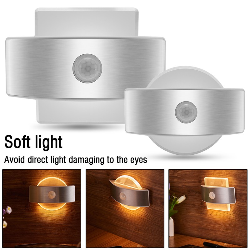 Infrared PIR Motion Sensor LED Night Light Wall Bedside Lamp Square Round Emergency Detector Security Bedroom Home Warm Lighting 1x led night light lamps motion sensor nightlight pir intelligent led human body motion induction lamp energy saving lighting