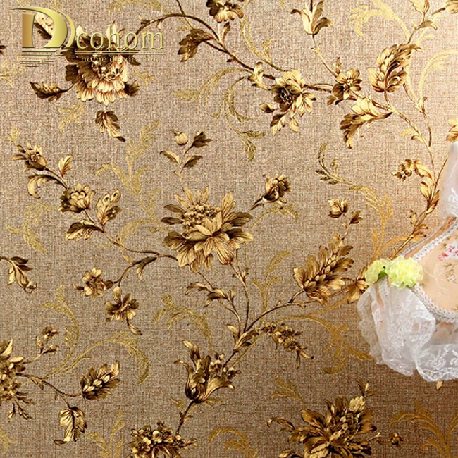 Luxury Floral Wall paper Modern Embossed Gold Wallpaper For Walls Papel De Parede Wallpaper Roll Tapete Vinyl Wallpaper R332 beibehang papel de parede 3d wallpaper rolls background embossed gold foil wall paper modern roll wallpaper for walls 3 d