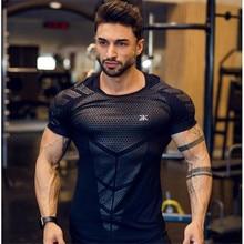 GymRagz 2019 New Cotton T Shirt Men Breathable T Shirt Homme Gyms T shirt Men Fitness Summer Printing Gyms Tight Top Black