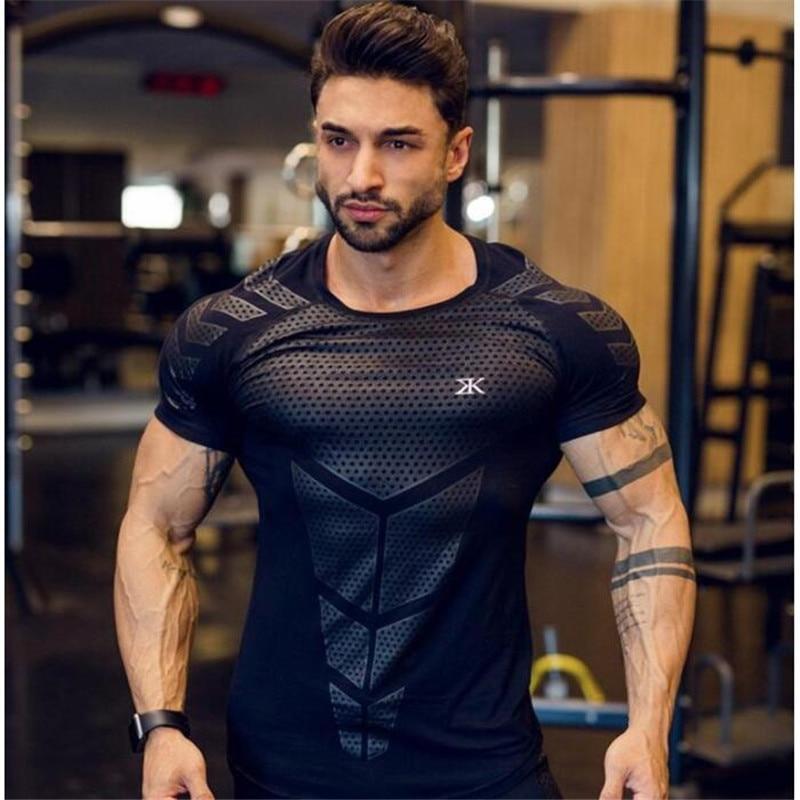 HETUAF 2019 New Cotton   T     Shirt   Men Breathable   T  -  Shirt   Homme Gyms   T     shirt   Men Fitness Summer Printing Gyms Tight Top Black
