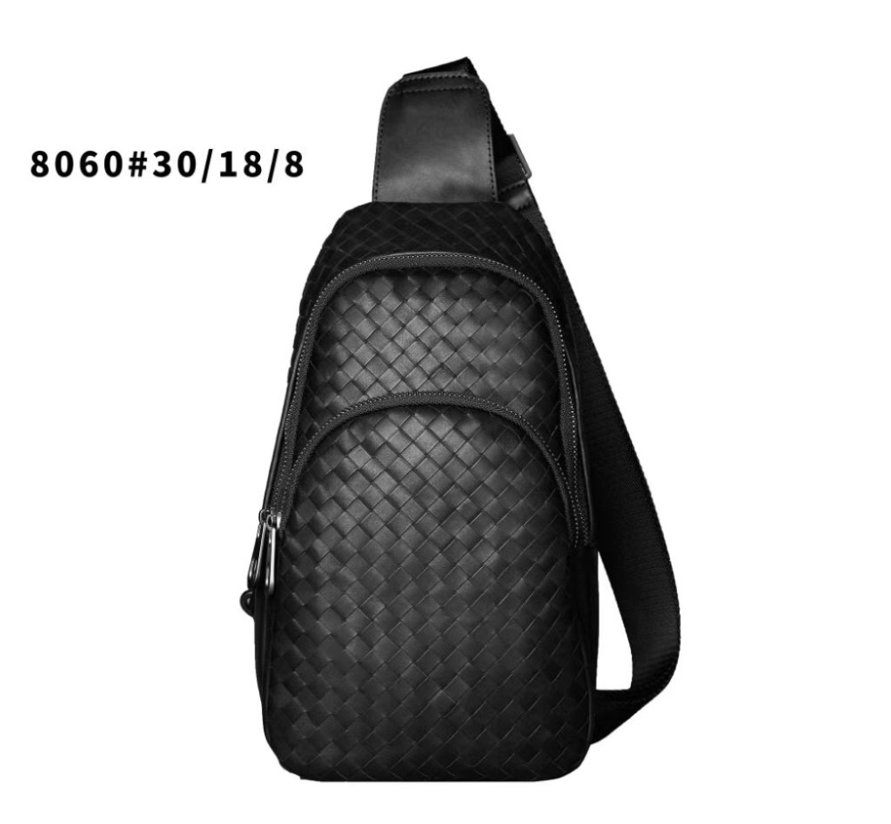 2019 Hand knit Genuine leather Male chest bag Internal cashmere High quality Cowhide fashion Leisure time