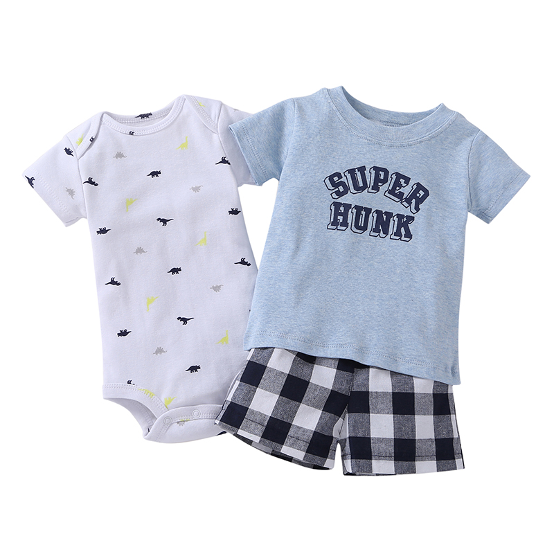 2018 Limited Hot Sale Hot! High Quality Borrowers Baby Boy And Girl Set Clothes Short T-shirt + Shorts Or Sliders 3 Pcs. Of