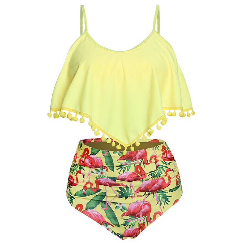 HTB1TAKnX8Kw3KVjSZFOq6yrDVXal High Waist Swimsuit 2019 Sexy Bikinis Women Swimwear Ruffle Vintage Bandeau Striped Bottom Bikini Set Bathing Suits