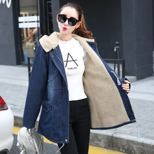 2016 New Denim cashmere down jacket women slim long coat female hooded windbreaker ladies winter Plus size jacket Blue LX6143