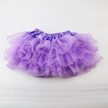 efa0e7461 Niñas mullidas 2-8 años chifón Pettiskirt color sólido 3 Lays tutú faldas  Chica danza
