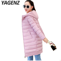 Winter Women Jacket Coats 2018 Fashion Slim Medium Long Down Cotton Hooded Overcoat Thick Warm Jacket