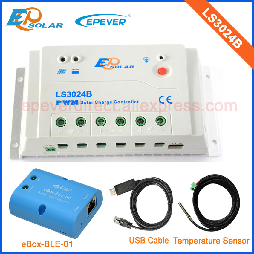 24V solar panel system 30A EPSolar controller 12V 30A PWM LS3024B with USB cable and temperature sensor bluetooth epsolar bluetooth function with mt50 remote meter pwm 30a regulator solar battery ls3024b usb cable