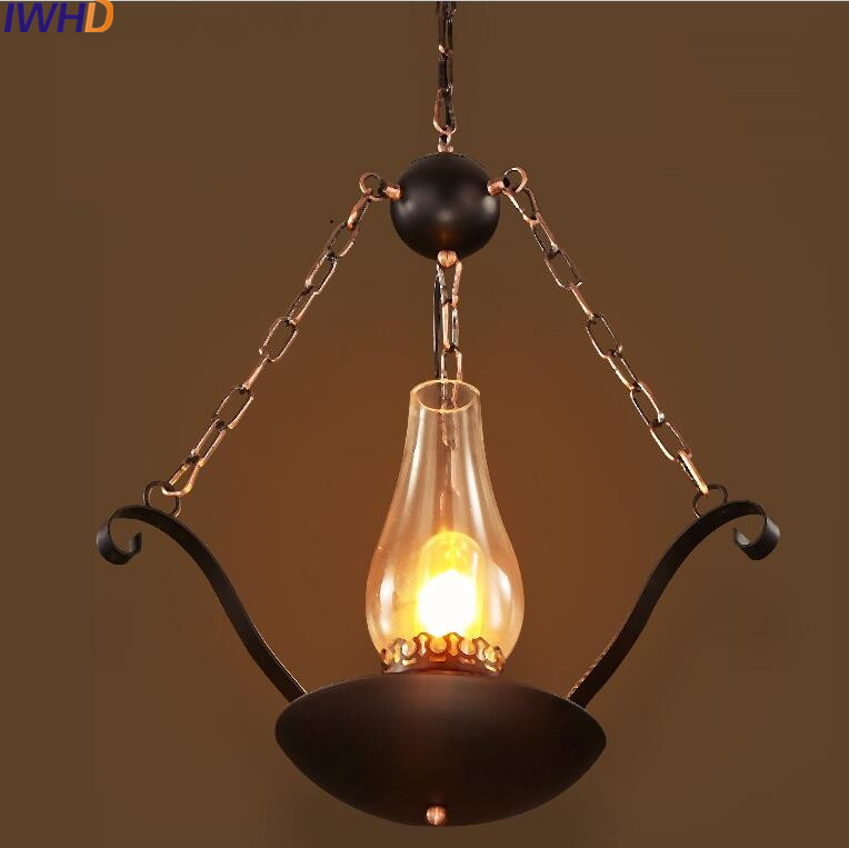 IWHD Glass Lamparas Industrial Hanging Lights Iron Vintage Lamp Home Lighting Fixtures Loft Retro Kitchen Luminaire Suspendu iwhd loft vintage led wall lamp glass lampshade retro industrial wall lights bedside light fixtures for home lighting luminaire