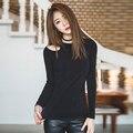 Футболка С Плеча Топы Черный Корейских Женщин Одежда 2017 Т Рубашки Женщины Хлопок Футболки Женщина Poleras Mujer Женская Одежда