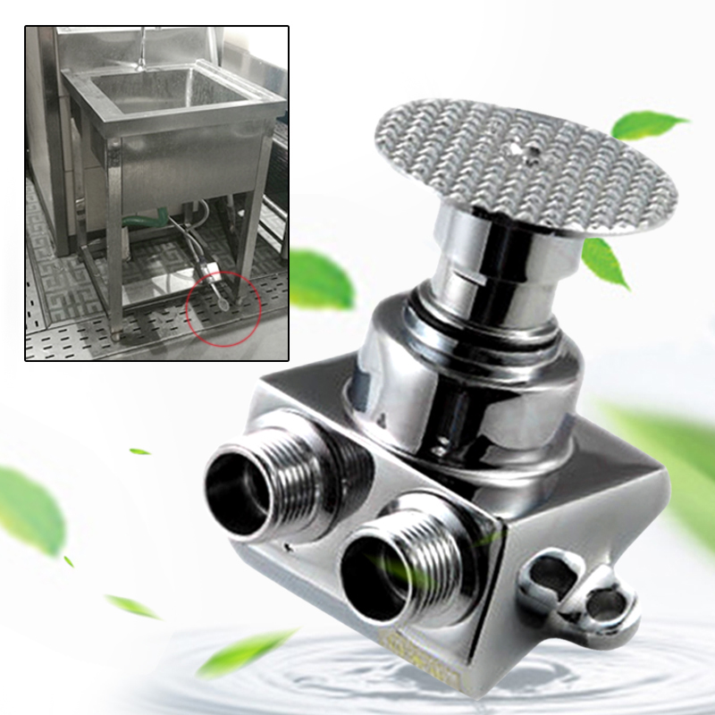 Floor Foot Pedal Control Switch Valve Faucet Basin Single Cold Water Kitchen Hom