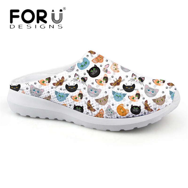 FORUDESIGNS Cute Cartoon Cat Printed Women Light Weight House Sandals Breathable Mesh Slippers Flats Female Summer Beach Shoes forudesigns women casual sneaker cartoon cute nurse printed flats fashion women s summer comfortable breathable girls flat shoes