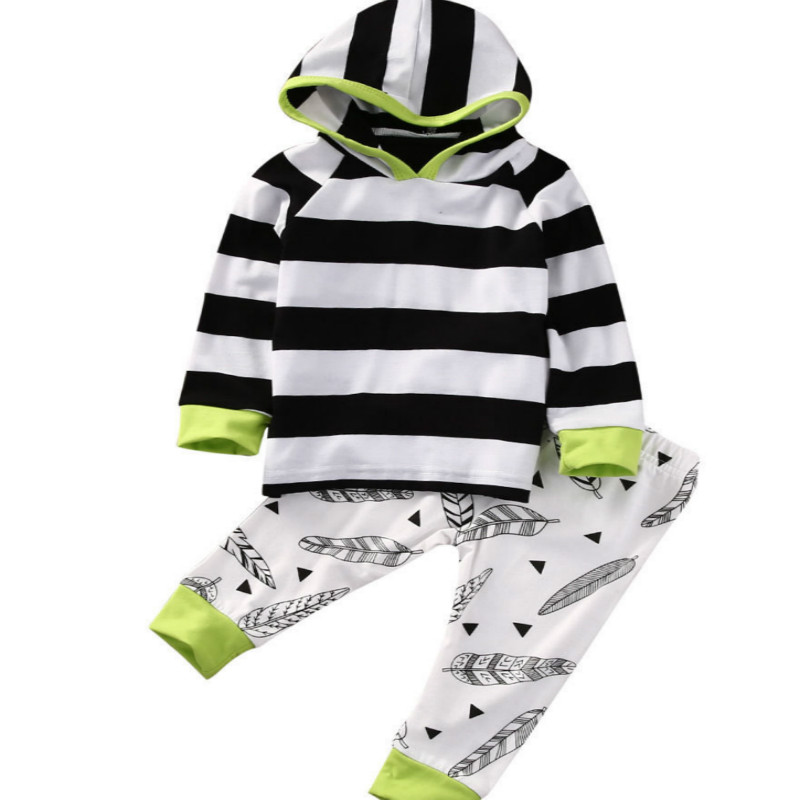 Toddler Clothes Newborn Baby Boys Girls Striped Hoodie Casual Tops Leaf Printed Long Pants Leggings 2Pcs Kids Unisex Outfits