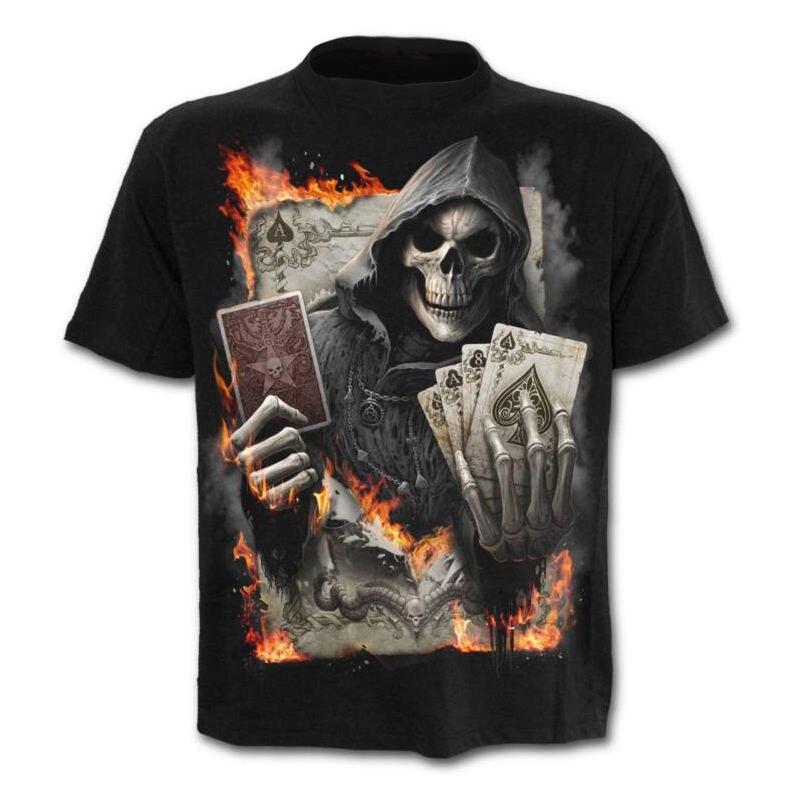 2018 Le New Summer hommes de t-shirts polyester crâne 3D Imprimé T chemise pour hommes intéressant col Rond à manches courtes s-4XL