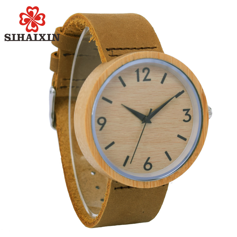 SIHAIXIN Wooden Watch De Bamboo Men Genuine Leather Quartz Watches Christmas vintage Top Brand Luxury Male Clock Gift With Box bobobird limited edition bamboo wooden watches men s luxury brand designer watch leather band quartz watches for men in gift box
