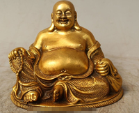 Details About 4 Chinese Buddhism Bronze Gild Seat Happy Laugh Maitreya Buddha Statue Sculptur R0715 B0328