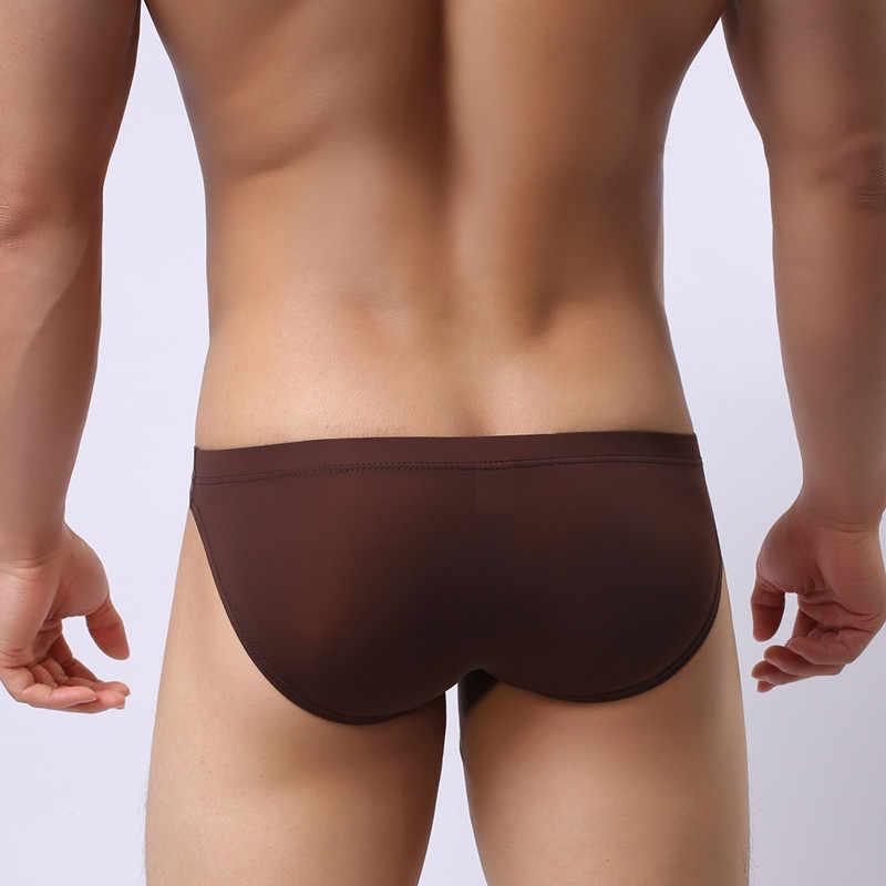 Roupa interior dos homens Sexy U convexo um-peça ultra-fina e transparente dos homens de seda gelo cuecas tamanho Grande cintura baixa sexy shorts homens