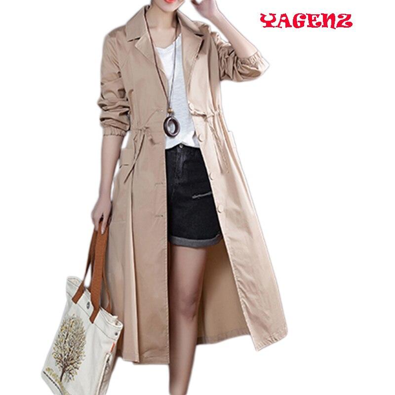 Women clothing   Trench   Windbreaker coat 2017 new spring Fashion leisure loose Big yards Long sleeve long female Windbreaker coat