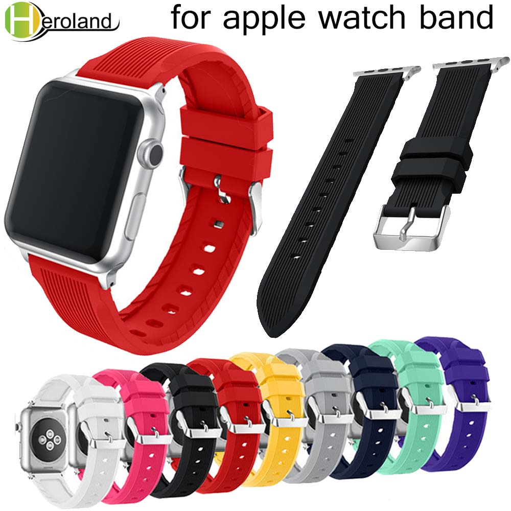 Sport Soft Silicone Strap Band Bracelet For Apple Watch Band Series 1/2/3 42mm 38mm Wrist Strap For Iwatch 4 40mm 44mm Bands New