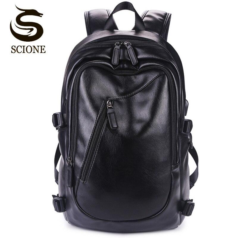 Waterproof Laptop Backpack Fashion Men PU Leather Backpacks for Teenager Male Bag Men's Backpack Female Daypacks mochila escolar