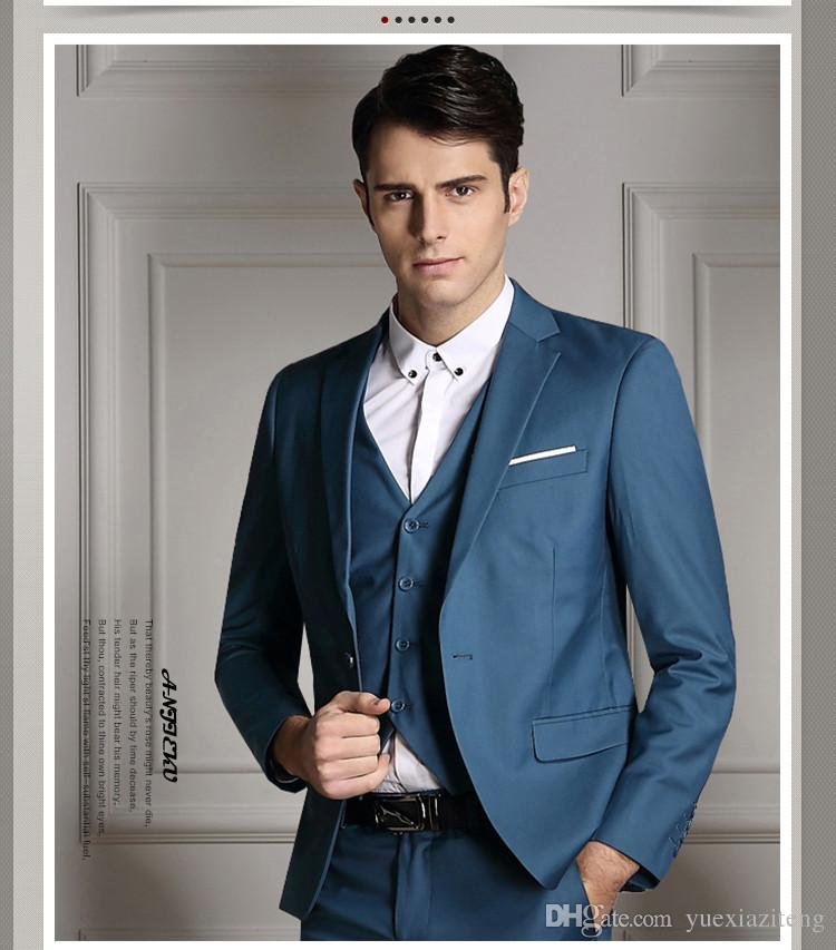 The new custom groom men's business casual light blue suit jacket ...