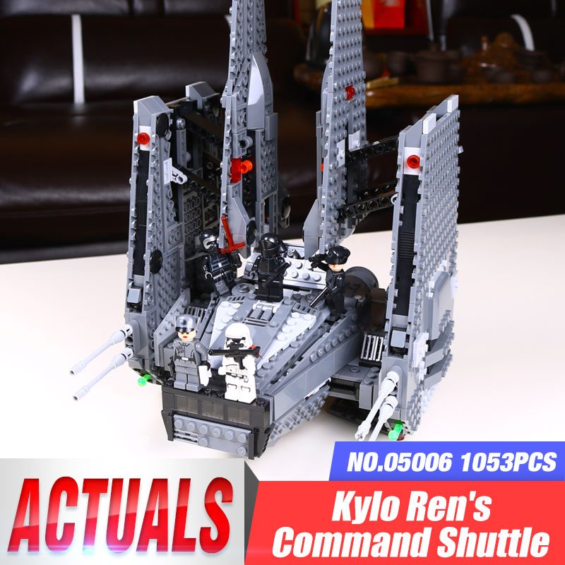 In-Stock 05006 1053Pcs Star Series War Kylo Ren Command Shuttle Building Blocks Educational lepin Toys Compatible 75104 Gifts in stock lepin 23015 485pcs science and technology education toys educational building blocks set classic pegasus toys gifts