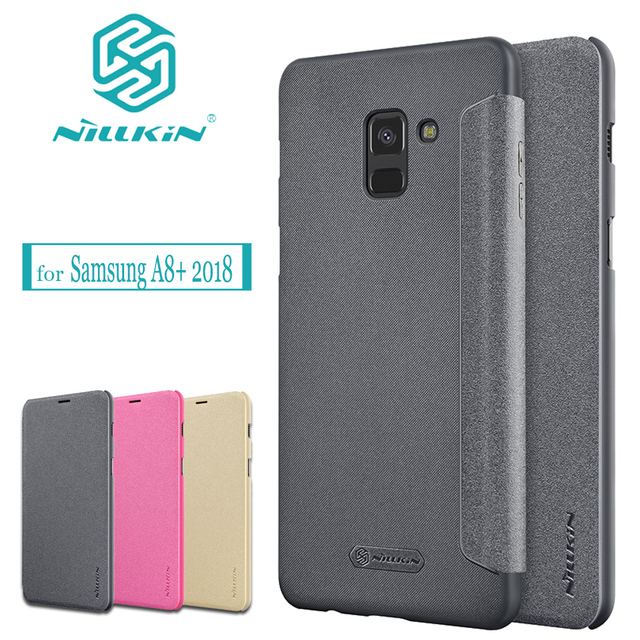 buy online b9c4a ebd9e Nilkin for Galaxy A8+ 2018 Case NILLKIN Sparkle PU Flip Leather Business  Phone Protective Cover for Samsung Galaxy A8 Plus 2018 -in Half-wrapped  Case ...