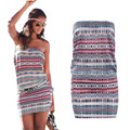 NEW Womens Bandeau DRESS Sexy Lady Summer Holiday Casual Striped Mini Beach sundress slash neck Tube Dress FREE SHIPPING
