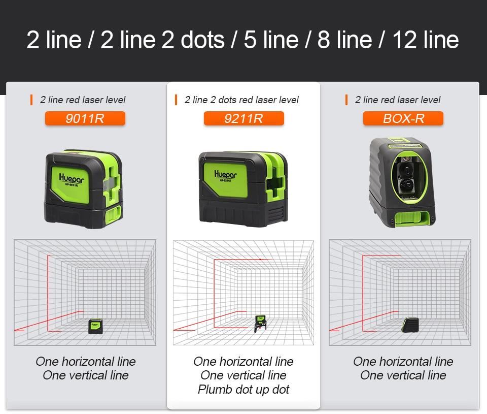 Nivel Láser Autonivelante Rojo para mediciones Líneas Láse Huepar 9011R envio 24