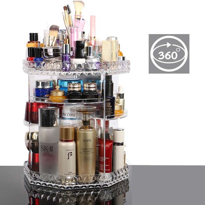 Fashion DIY 360 Degree Rotation Transparent Acrylic Cosmetics Storage Box Fashion Multi-function Detachable Makeup Beauty Organ