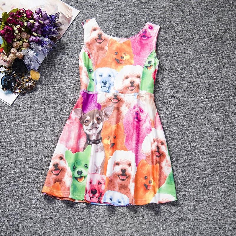 Baby Girl Princess Dress 4-10 Years Kids Sleeveless Summer Sundresses for Girl Children Animal Dog Cat Fashion Clothing