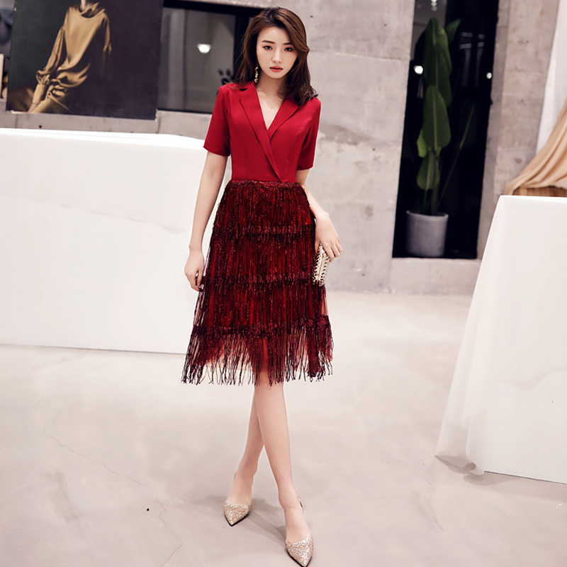 2019 Robe De Cocktail Courte Elegant A Line V Neck Tasse Cocktail Dresses Sexy Burgundy Backless Party Gown LF259