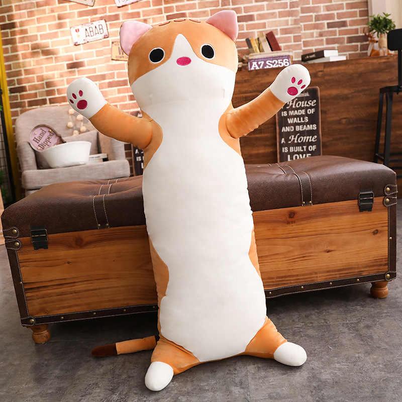 1 PC 60/90 Cm Panjang Kucing Bantal Mewah Mainan Lembut Bantal Boneka Boneka Tidur Sofa Kamar Tidur Dekorasi kawaii Indah Hadiah untuk Anak-anak