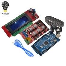 WAVGAT controlador para impresora 3D Mega 2560 R3 + 1 Uds., rampas 1,4, 5 uds. Módulo controlador A4988 paso a paso, controlador 2004, 1 Uds.