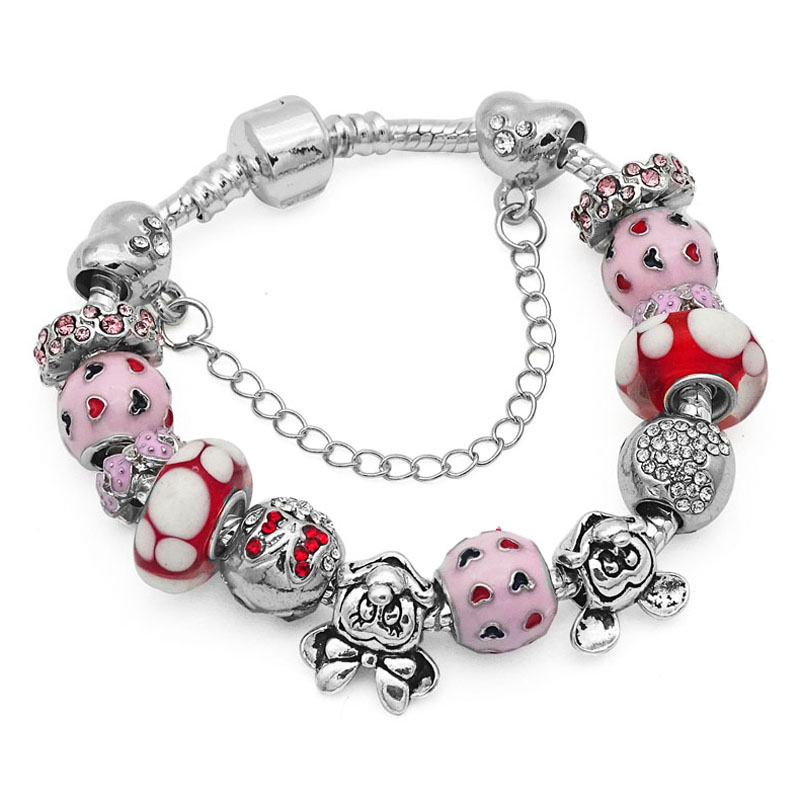 Fashion Pink Murano Gl Beads Bracelet Femme Cartoon Animal Charms Bracelets Bangles For Women Pan Pulseras Jewelry In Charm From