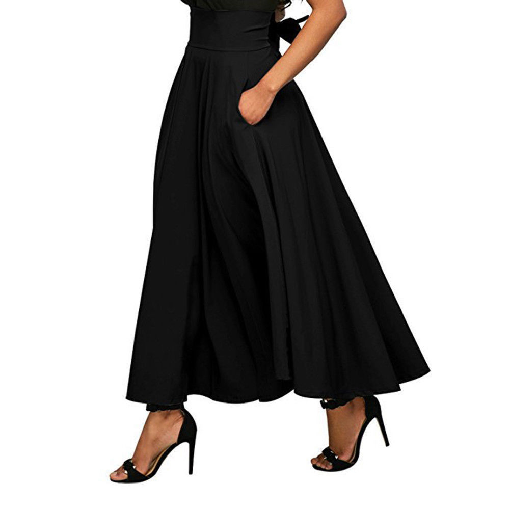 US $12.84 12% OFF 2018 eleganckie kobiety spódnica wysokiej talii plisowana długa spódnica do kostek Vintage linia duża kokarda czerwony czarny boczny