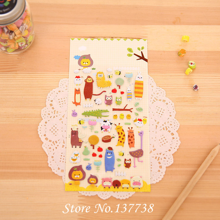 Hot Sale 1 sheet Cute 3D Bubble Stickers Animal Farm for Diary Scrapbook Calendar Cellphone Decal