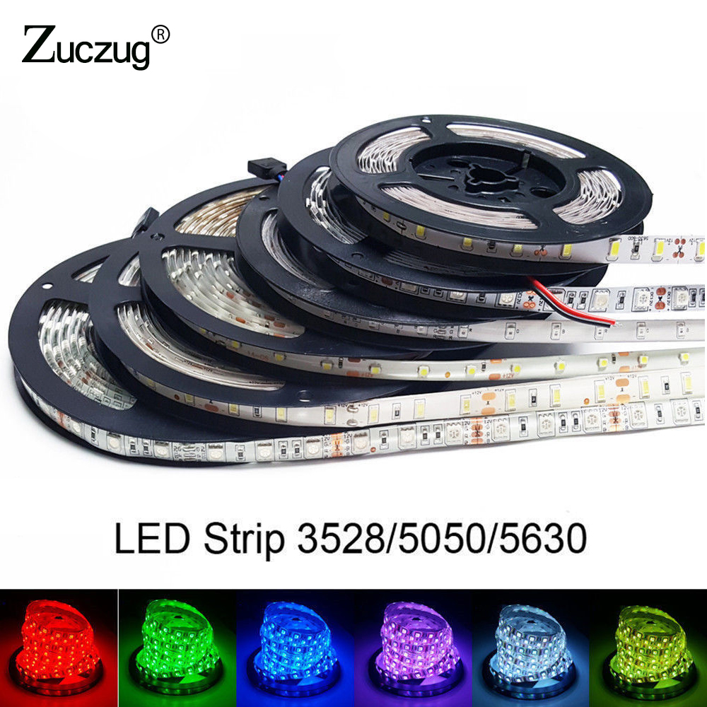 LED Strip Light High Bright 5M 2835 5050 5630 3528 DC 12V 60LEDs/M Flexible Ribbon Not waterproof tape Decor LED lamp RGB
