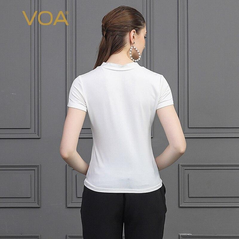 Manches Slim Base Voa T Courtes Soie De Hauts Blanc shirt D'été T Grande Streetwear Décontracté Dames B2719 Solide Tricot Femmes Taille qz6pzX