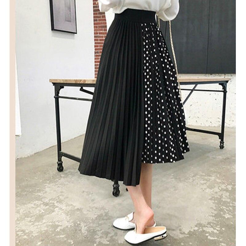 Европейский стиль летние женские юбки плюс размер 5XL плиссированные в горошек Лоскутные женские юбки шифоновые Асимметричные женские рубашки Новые