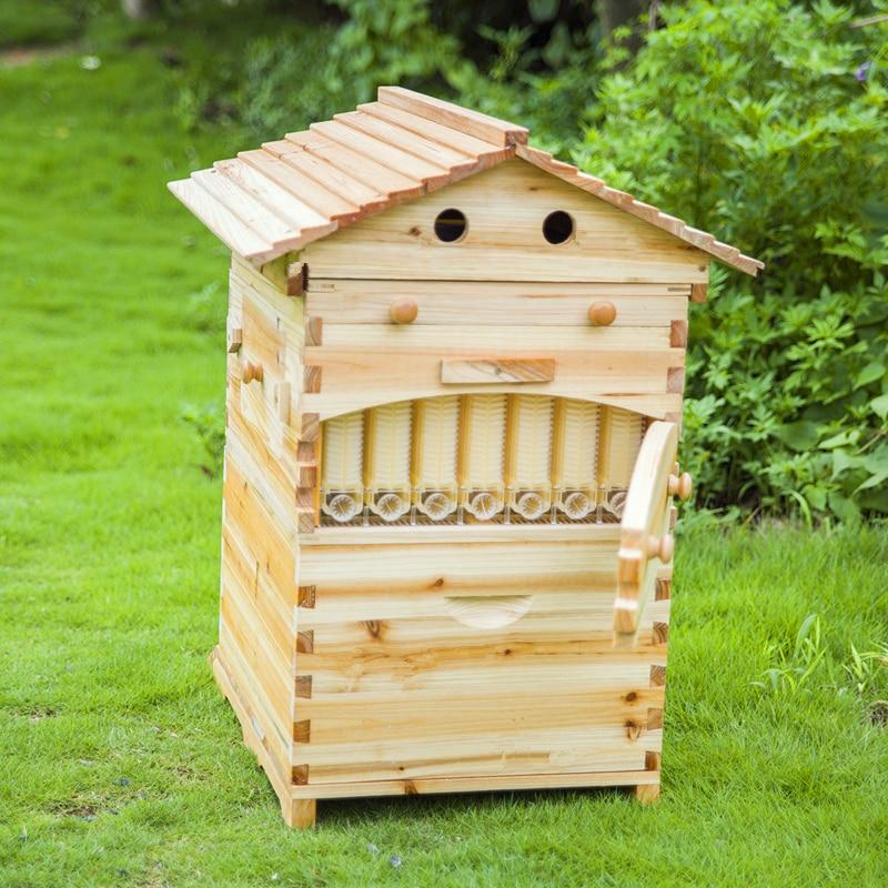 Рождественский подарок для папы умный автоматический деревянный улей, мед, течет Пчела улей с 7 шт Пластиковые улей рамки