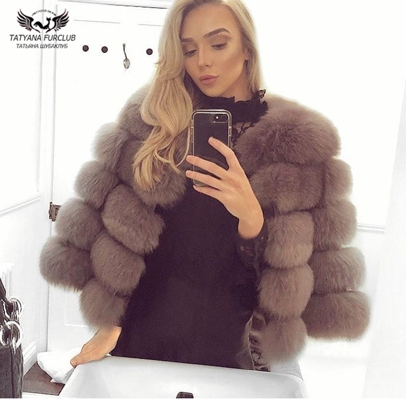 Tatyana Warm Real Fox Fur Short Coat 10408